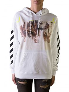BNWT OFF-WHITE C/O VIRGIL ABLOH WOMAN'S WHITE HOODED CARAVAGGIO SWEATSHIRT XS…