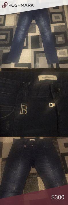 Men's Pierre Balmain Navy Blue Jeans - Size 32 (Used) Men's Pierre Balmain moto Navy Blue Jeans - Size 32 Pierre Balmain Jeans Straight
