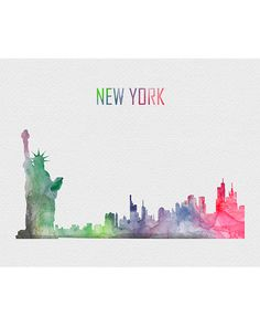 - Description - Specs - Processing + Shipping - Break away from the mold of big-box stores with this original and unique art illustration which is sure to make your room stand out from the crowd. Watercolor City, Watercolor Journal, Watercolor Paintings, Watercolour, Illustrations, Illustration Art, New York Cityscape, Skyline Art, Skyline Painting