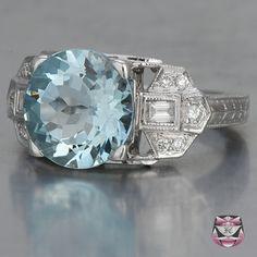 3.9 carat Aquamarine Deco Aqua Engagement Ring $1800
