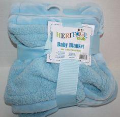 "Heritage Club Baby Blanket Blue Plush Shepra VERY Soft Idea Nuova 30"" x 40"" New #HeritageBabyBlanket"