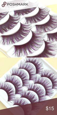 5pair Lashes w purple highlights Brand new and never worn. These lashes are wispy and fan out for maximum length and definition. They also have subtle purple highlights. Perfect for a night out 😊 bundle and save!😉 Hollywood Secret Makeup False Eyelashes