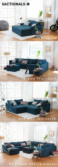 Start with two simple pieces, and grow from there. Any time life calls for it, just add pieces. Sactionals will grow with you. Home Living Room, Living Room Decor, Living Spaces, Casa Top, Modular Sectional Sofa, Piece A Vivre, Home And Deco, My Dream Home, Home Furniture