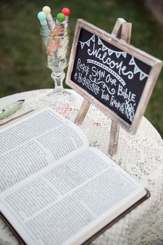 Literary Charm Filled Outdoor Wedding For The Bookworms In Love Unique Bible guest book signed with Trendy Wedding, Perfect Wedding, Rustic Wedding, Wedding Signs, Our Wedding, Dream Wedding, Church Wedding, Wedding Goals, Luxury Wedding