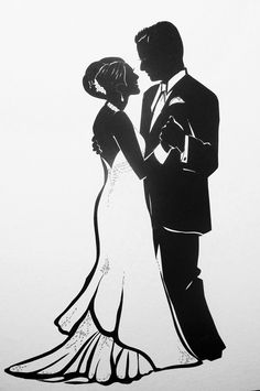 Dancing with the Bride, cut paper silhouette by Tim Arnold