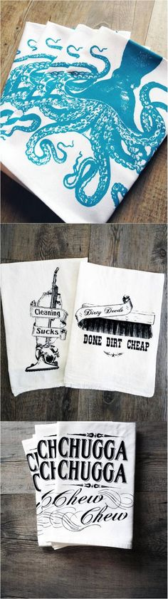 Awesome silk screened hand towels make your kitchen way more fun! | Made on Hatch.co