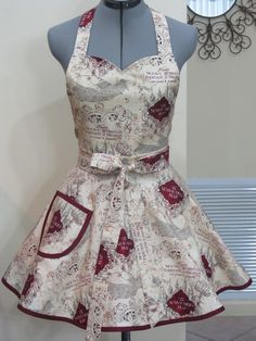 Full of Flounce sweetheart neckline Apron is made with the Marauder's map print, Burgundy bias tape all around the full flounce and pocket. Harry Potter Socks, Harry Potter Face, Harry Potter Marauders Map, The Marauders, Star Wars Fabric, Christmas Aprons, Apron Dress, Bias Tape, Vestidos