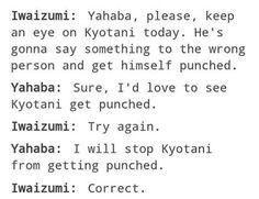 Haikyuu iwaizumi and yahaba