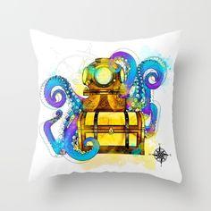 throw pillow, home decor, interior design, bedding, art, graphic design, digital art, illustration, vector, pattern, contemporary, modern, mixed media, nautical, aquatic, compass, treasure chest, diving helmet, octopus, animals, sea life, sea creatures, cool