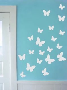 criativas quartos simples Set of 34 Butterfly decal in varying sizes - Butterfly wall decals butterfly nursery wall decal sticker