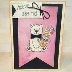 Love you beary much card created using Honey Bee Stamps, American Crafts embossing folder, Tim Holtz distress Inks and Pebbles paper. Love this teddy bear!