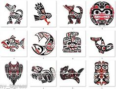 Tlingit Symbols | 12 Indian Haida Art Totem Pole Animals Symbols Bottle Cap Images - 1 ...