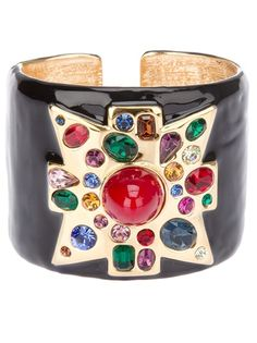 Kennetth Jay Lane Vintage from A.N.G.E.L.O. VINTAGE PALACE.  Black cuff from Kenneth Jay Lane Archive featuring a gold-tone front with multicoloured jewel detailing and a blue polished glass stone at the centre.