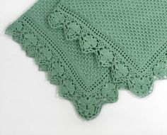 Knitted Baby Blanket  Green by SasasHandcrafts on Etsy