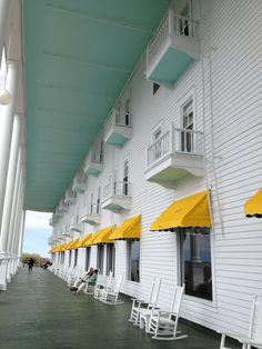 Wrap around porch at the Grand Hotel on Mackinac Island.