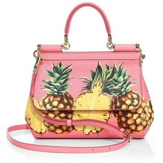 Dolce & Gabbana Mini Miss Sicily Tropical Saffiano Leather Top-Handle Bag featuring polyvore women's fashion bags handbags shoulder bags pink multi pink shoulder handbags man bag mini handbags shoulder handbags pink purse