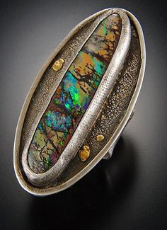 T a i V a u t i e r - Exquisite large boulder opal sterling silver fused ring with 22kt gold accents