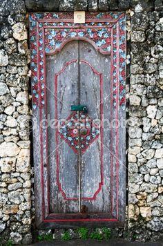 worn Asian door