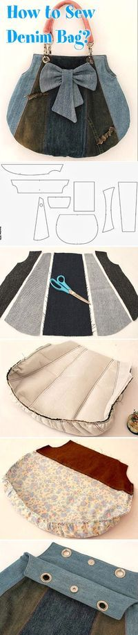 How to Sew Denim Bag? DIY tutorial : How to Sew Denim Bag? ~ Sewing projects for beginners. Step by step sew tutorial. How to sew illustration. Diy Jeans, Sewing Jeans, Sewing Diy, Sewing Hacks, Free Sewing, Patchwork Bags, Quilted Bag, Diy Bags Tutorial, Bag Tutorials
