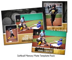 SOFTBALL PACK B - Memory Mate Sports Photo Templates - Digital Files Only