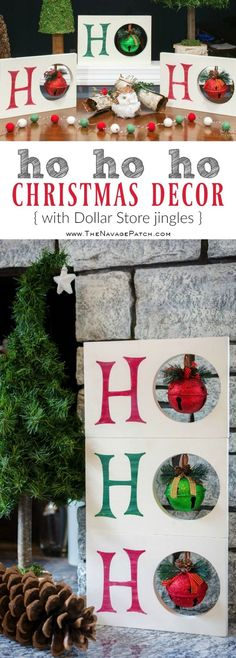 Diy Christmas decoration | HO HO HO Christmas decor | Dollar Store Christmas decoration| Scrap wood home decor | Upcycled Christmas decoration | Cheap & easy crafts | Simple woodworking | Stenciled home decor | Diy chalk paint | How to stencil | Festive home decor | #painted and #stenciled #diy #Christmas #crafts | TheNavagePatch.com