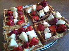 waffles with typical polish foods: strawberries and apples. good proposition for healthy snack too
