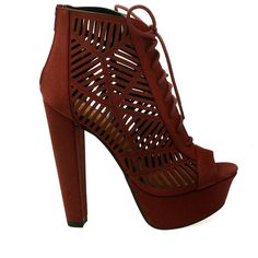 Zamora-H Burgundy Cut Out Platform Chunky Heel Booties