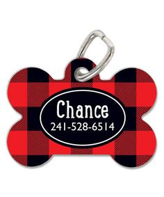 Loving this Red Check Bone Personalized Pet Tag on #zulily! #zulilyfinds