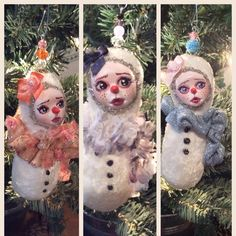 Three new little snowgirls added to my shop. They are on sale at $25 and each one has a hand sculpted face from paperclay. There are 8 available and would be a great little gift or a child's first Christmas ornament.
