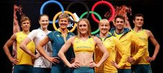 Australian Olympic Athletes (L-R) Henry Frayne, Cate Campbell, Natalie Cook, Sally Pearson, Jessicah Schipper, Mitchell Watt and Craig Mottram model the adidas 2012 Australian Olympic Games competitor uniforms during the adidas 2012 Australian Olympic Games competitor uniform launch at Sydney Olympic Park Sports Centre on March 28, 2012 in Sydney, Australia. © Matt King / Getty Images