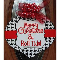 Houndstooth Christmas Ornament Door Hanger Sign by Sparkled Whimsy  Holidays  Christmas  Decoration  door decor  door decoration  door hanger  holiday door hanger  holiday door decor ornament door hanger  christmas wreath  christmas decoration  Sparkled Whimsy  houndstooth  roll tide  christmas door christmas sign