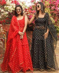 As fresh as Spring! Organza lehenga sets with choli inside. Sharara Designs, Lehenga Designs, Kurti Designs Party Wear, Indian Gowns Dresses, Indian Fashion Dresses, Dress Indian Style, Pakistani Dresses, Bollywood Dress, Girls Dresses
