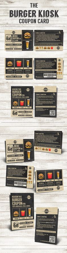 The Burger Kiosk Coupon Card - PSD Template • Only available here ➝ http://graphicriver.net/item/the-burger-kiosk-coupon-card/9942865?ref=pxcr