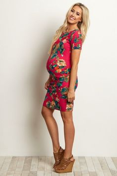 Fuchsia-Floral-Fitted-Maternity-Dress