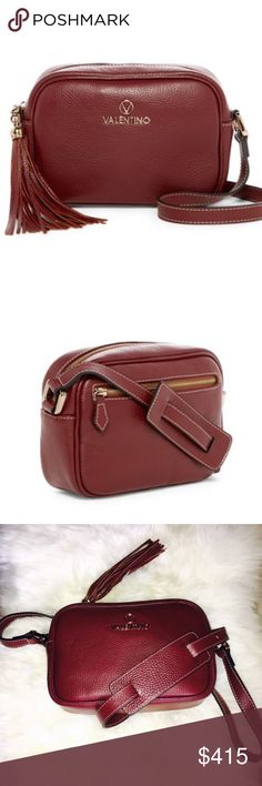 """Valentino Leather Crossbody Bag NWT Leather zipper pouch to fit in your essentials. Double top zip closure. Adjustable, crossbody strap, 24"""" drop. Fully lined. One inside and one outside back zipper pocket. Goldtone hardware. 10""""W X 6""""H X 4""""D. Leather. Made in Italy. Brand new ! Valentino Bags"""