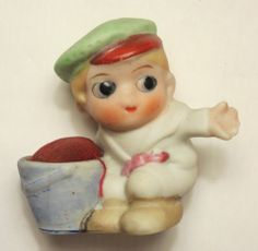 Vintage Figural Pin Cushion Boy in Hat Porcelain Free Shipping | eBay