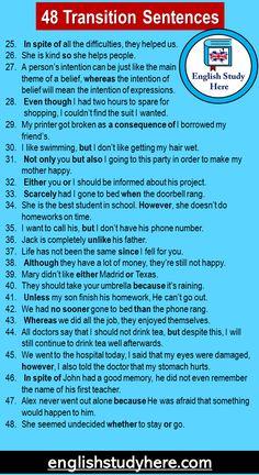 English Learning Spoken, Teaching English Grammar, English Writing Skills, English Language Learning, English Sentences, English Phrases, Learn English Words, Transition Sentences, English Transition Words