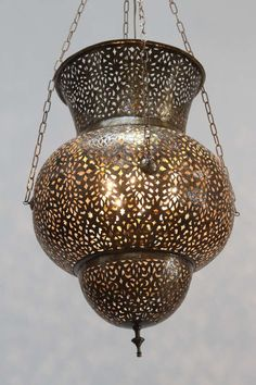 Moroccan Brass Chandelier in Alberto Pinto Style [$3,500.00]