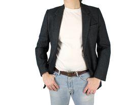 Mens Vintage Blazer 36R 100% Wool Black White Pinstripe Sports Coat Suit Jacket Free US Shipping wI5OK