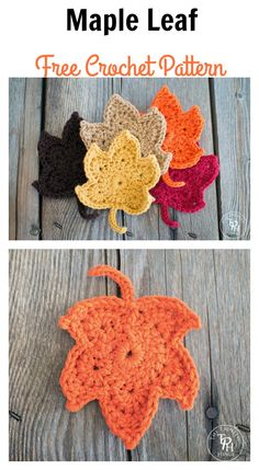 Fall Maple Leaf Free Crochet Pattern Crochet leaf patterns can be used for so many different types of projects. Check out a couple of beautiful Maple Leave Crochet Patterns below. Crochet Leaf Free Pattern, Crochet Coaster Pattern, Crochet Leaves, Crochet Flower Patterns, Crochet Motif, Crochet Flowers, Knitting Patterns, Crochet Pumpkin, Crochet Fall