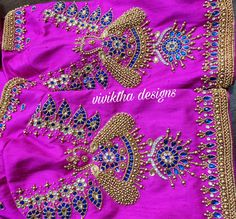 New style vanki design with peacock detailing # peacock work # beads work # bridal blouse detailing # Indian brides # south Indian bridal blouse Best Blouse Designs, Bridal Blouse Designs, Blouse Neck Designs, Sleeve Designs, Aari Work Blouse, Hand Work Blouse Design, Hand Designs, Simple Designs, Sugar Beads