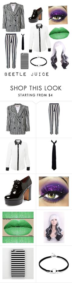 """""""beetle juice costume"""" by hellaandrogynous ❤ liked on Polyvore featuring Yves Saint Laurent, River Island, Balenciaga and Marc Jacobs"""