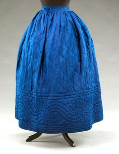 silk petticoat, 1860s quilted for winter warmth