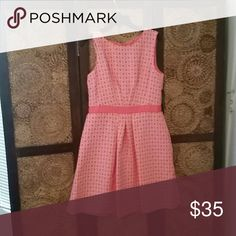 Tahari Arthur S. Levine. Dress Coral and white dress with circle like designs. Tahari Dresses