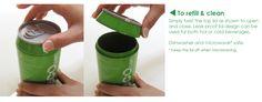 Eco can. A bio degradable travel mug option.