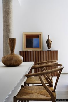 It's hard to pick just one chair to feature on your 100th birthday but your Wishbone chair, inspired by portraits of Danish merchants sitting in Ming Chairs, is one of our favorites. Hans Wegner, what a timeless icon you are. A visionary, a sculptor, and a craftsman putting function first — you changed the course of design history in the 1950s-1960s. Today we celebrate you. Image via Afflante.