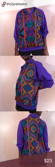 Vintage Graff western wear large unisex I've got some sweet Western wear from Graff!! Size Large. Long sleeve and collard. Vibrant colors and perfect condition!! DM TO PURCHASE!! #unisex #clothing #womenswear #womensfashion #womensclothing #mensfashion #mensclothing #vintage #retro #80s #90s #seller #thrift #depop #poshmark #ebay #vinted #smallbusiness #blackowned #graff #purple #westernwear #cowboy #cowgirl graff Tops Tees - Long Sleeve