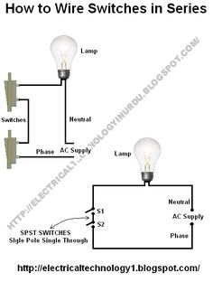 ( basic home electrical wiring diagrams) requiurments:i) 2 switchesii) 1  lamp (bulb)iii) 4 pieces of cablesprocedure:connect these all things as  shown in