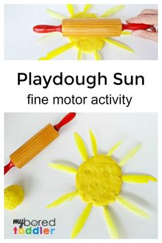 Playdough Sun Fine Motor Activity for Toddlers: A simple playdough activity, perfect for strengthening those fine motor muscles in fingers and hands. #toddlers #myboredtoddler #playdough #toddleractivities