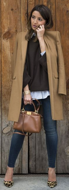 The Classic by Lovely Pepa Brown sweater camel coat blazer striped button down.